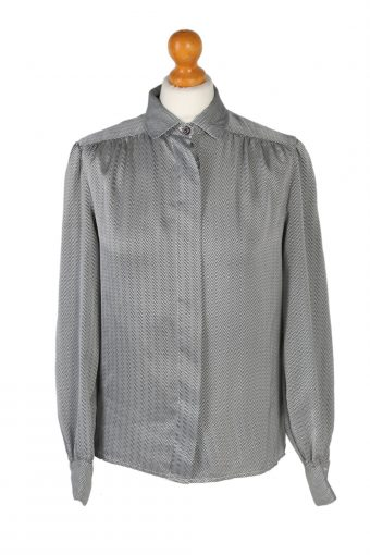 Women 90s Shirt Blouses Long Sleeve Grey L