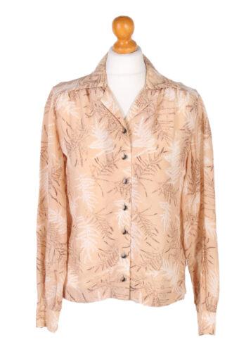 Women 90s Shirt Blouses Long Sleeve Brown L