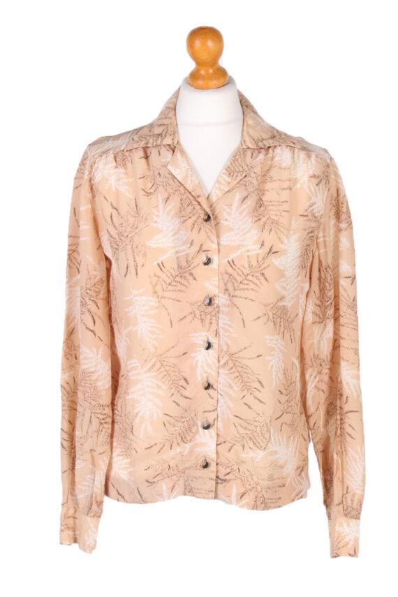 Vintage Lady Blouses Shirt Long Sleeve S Brown LB257-0