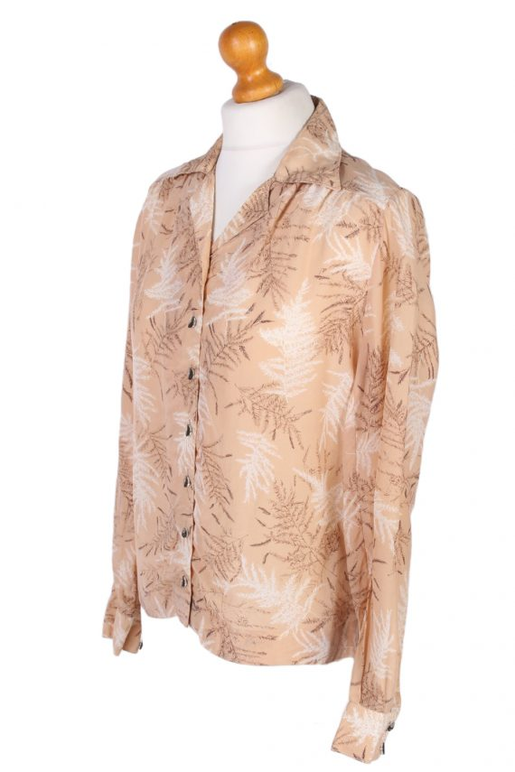 Vintage Lady Blouses Shirt Long Sleeve S Brown LB257-96874