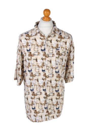 Hawaiian Shirt 90s Retro Summer Aloha Cream L
