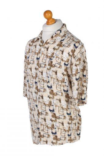 Vintage Knights Bridge Designer Hawaiian Shirt L Cream SH3371-96720