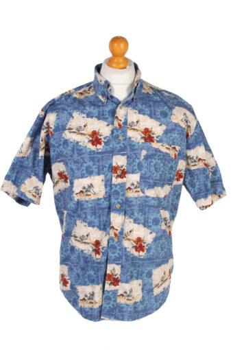 Hawaiian Shirt 90s Retro Summer Aloha Blue M