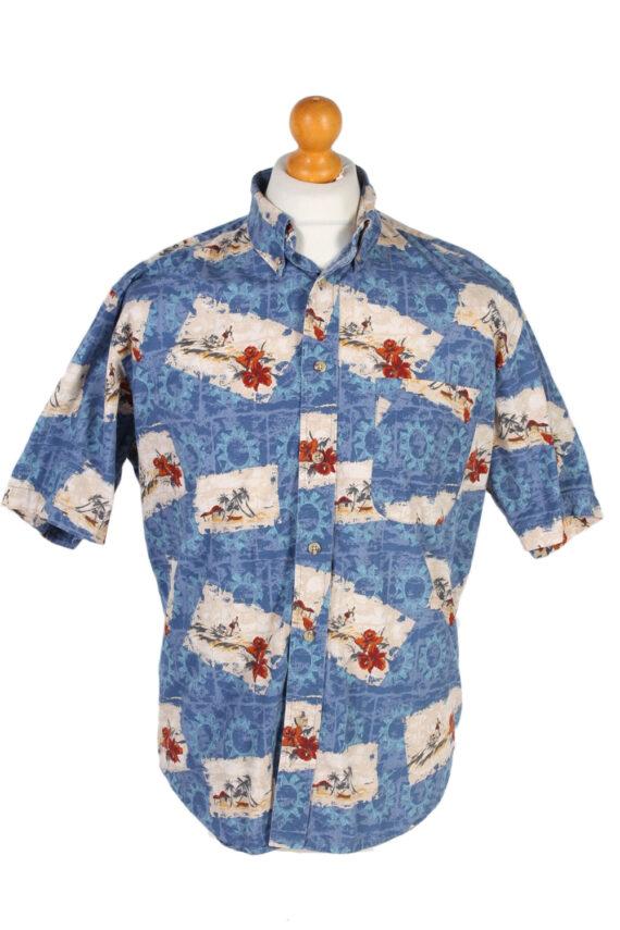 Vintage Natural Issue Island Printed Hawaiian Shirt M Blue SH3408-0