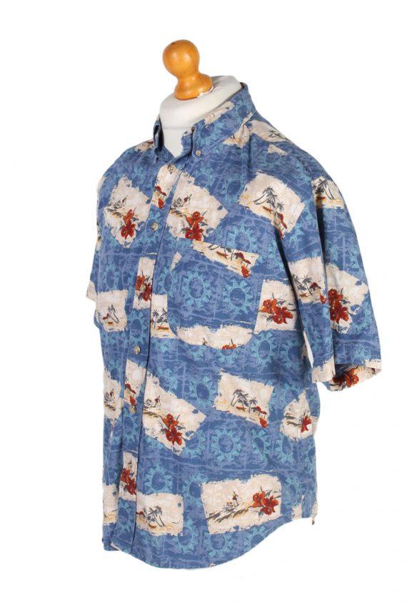 Vintage Natural Issue Island Printed Hawaiian Shirt M Blue SH3408-97067