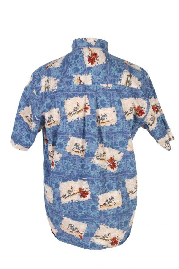 Vintage Natural Issue Island Printed Hawaiian Shirt M Blue SH3408-97068