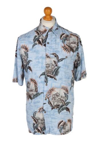 Hawaiian Shirt 90s Retro Summer Aloha Turquoise M