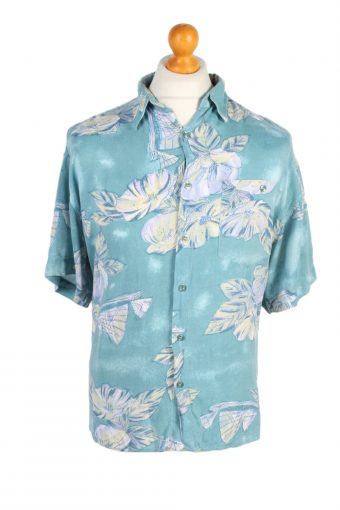 Hawaiian Shirt 90s Retro Summer Aloha Mint L