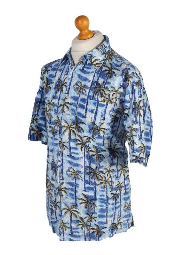 Vintage Tailor&Son Palm Printed Hawaiian Shirt L Blue SH3431-97516
