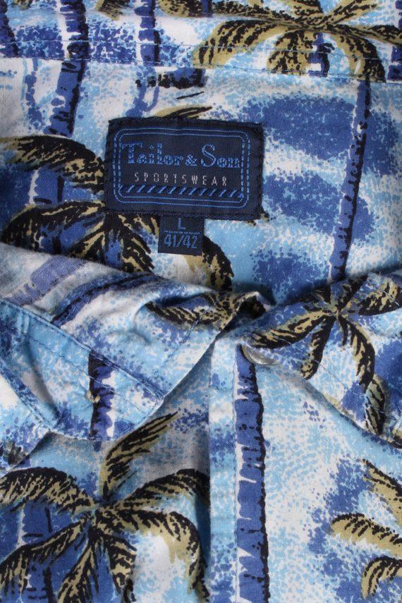 Vintage Tailor&Son Palm Printed Hawaiian Shirt L Blue SH3431-97518