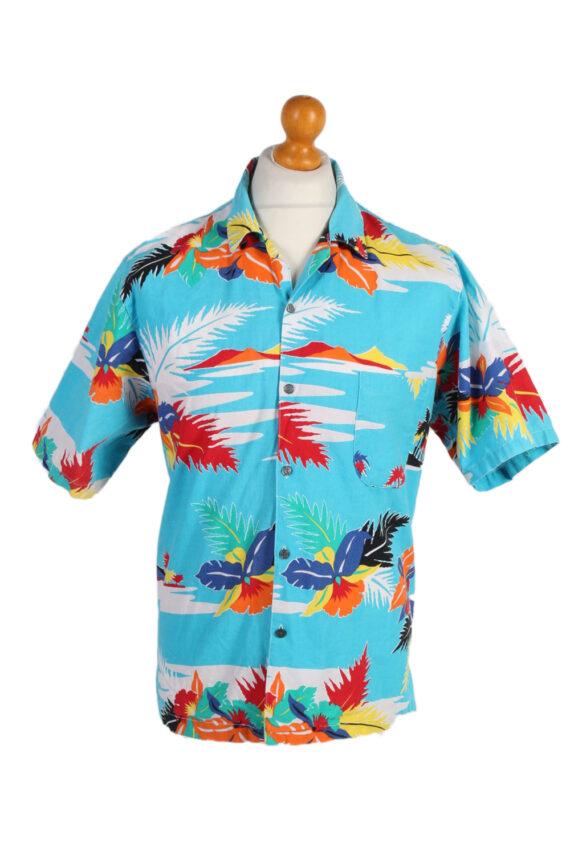 Vintage Hawaiian Shirt B.S.R. Island Printed L Turquoise SH3439-0