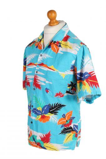 Vintage Hawaiian Shirt B.S.R. Island Printed L Turquoise SH3439-97954