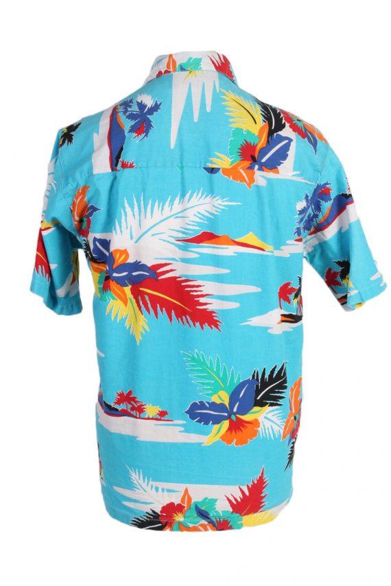 Vintage Hawaiian Shirt B.S.R. Island Printed L Turquoise SH3439-97955