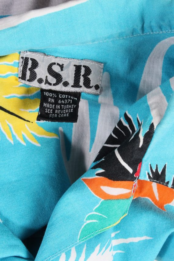 Vintage Hawaiian Shirt B.S.R. Island Printed L Turquoise SH3439-97956