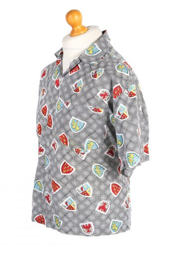 Vintage Hawaiian Shirt Gaslay Fashion Designer L Grey SH3453-98010