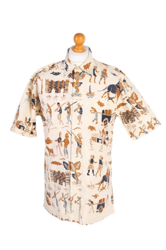 Vintage Hawaiian Shirt By Hagi Eqypt Printed XL Mustard SH3460-0