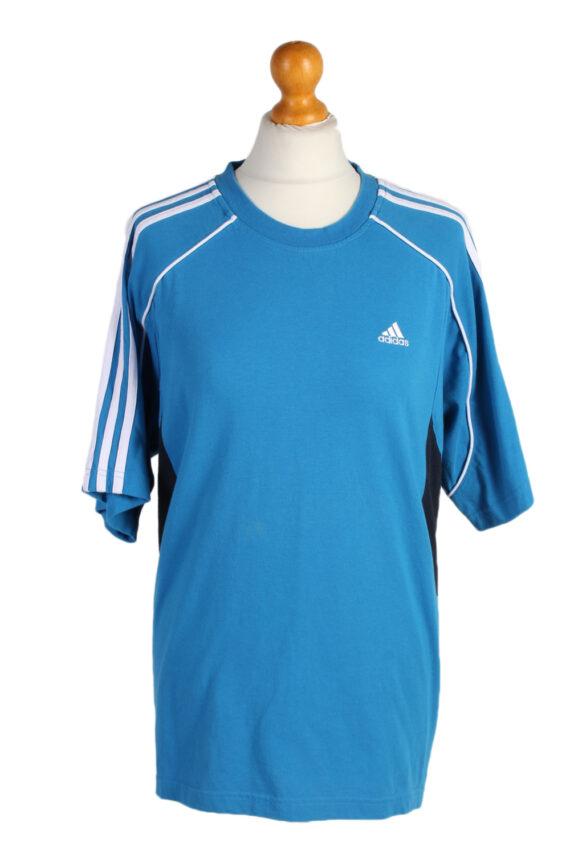 Vintage Adidas T-Shirt Three Stripes M Blue TS307-0