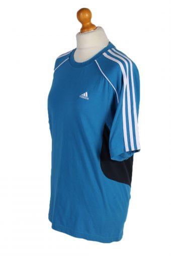 Vintage Adidas T-Shirt Three Stripes M Blue TS307-97910