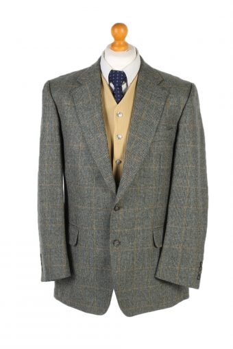 Burberry Blazer Jacket Windowpane Classic Green L