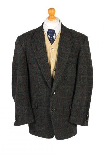Harris Tweed Blazer Jacket Windowpane Classic Green L/XL