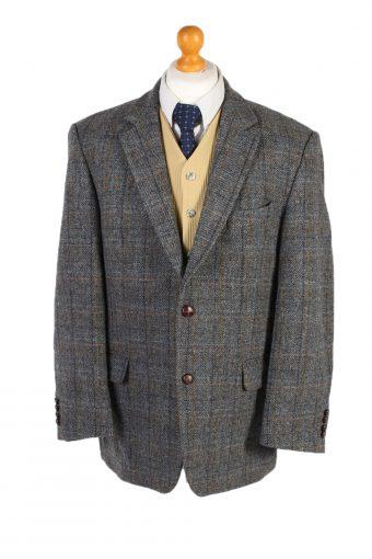 Harris Tweed Blazer Jacket Windowpane Classic Grey L