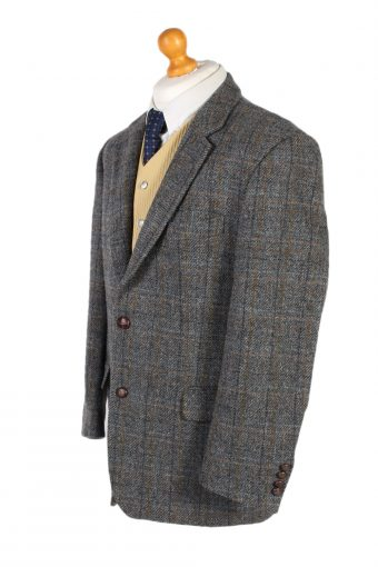 Vintage Harris Tweed Window Pane Classic Blazer Jacket Chest 45 Grey HT2376-99235