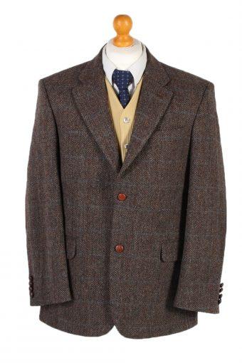 Harris Tweed Blazer Jacket Digel Windowpane Patched Brown L