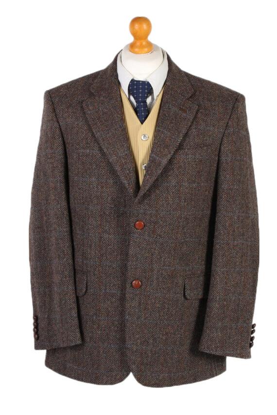 Vintage Harris Tweed Digel Window Pane Patched Blazer Jacket Chest 45 Brown HT2409-0