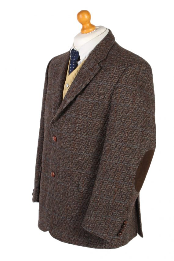 Vintage Harris Tweed Digel Window Pane Patched Blazer Jacket Chest 45 Brown HT2409-99400