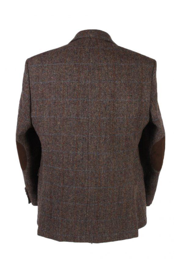 Vintage Harris Tweed Digel Window Pane Patched Blazer Jacket Chest 45 Brown HT2409-99401