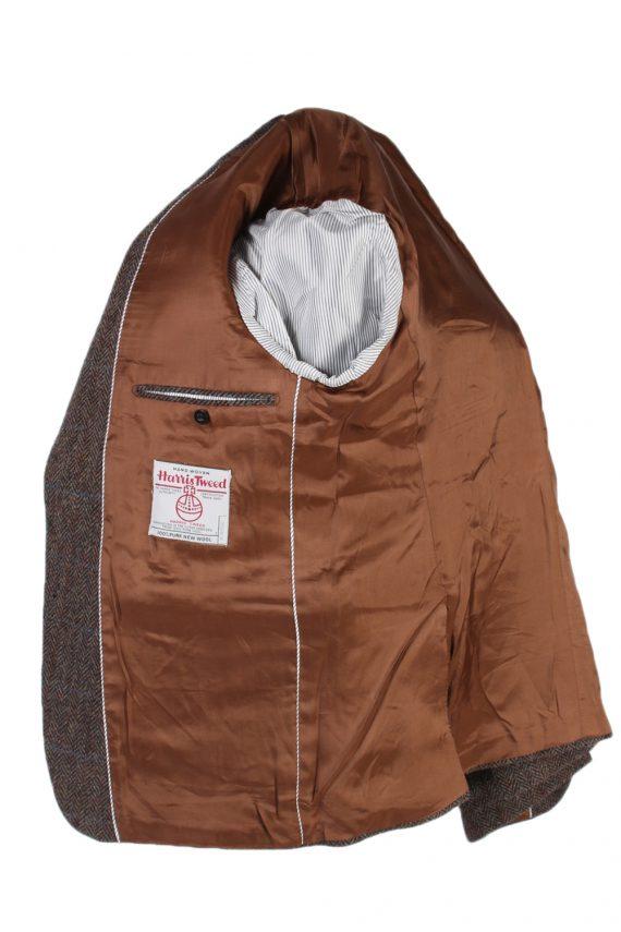 Vintage Harris Tweed Digel Window Pane Patched Blazer Jacket Chest 45 Brown HT2409-99402