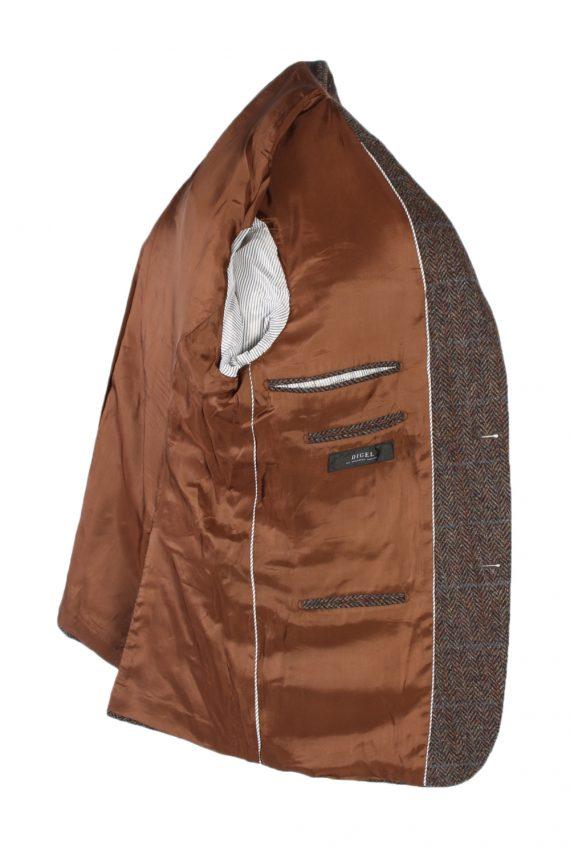 Vintage Harris Tweed Digel Window Pane Patched Blazer Jacket Chest 45 Brown HT2409-99403