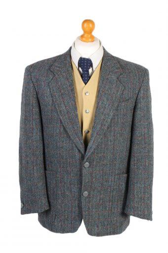 Harris Tweed Blazer Jacket Commander Windowpane Patched L