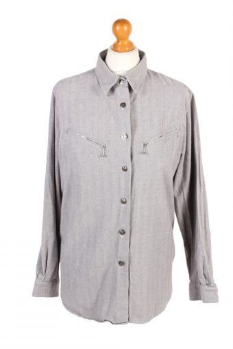 Flannel Checkshirt 90s Retro Women Grey L