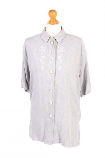 Flannel Checkshirt 90s Retro Women Grey XL
