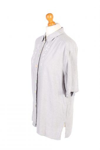 Vintage Flannel Shirt Petressa Printed Corduroy L/XL Grey SH3561-100663