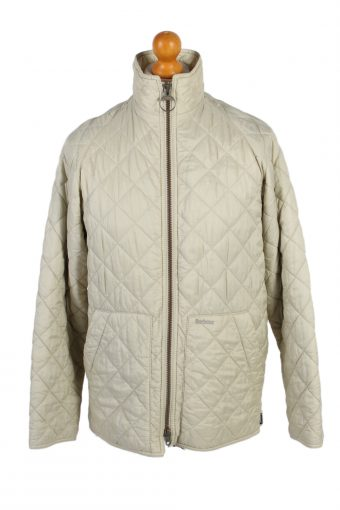 Vintage Barbour Quilted Jacket Coat 90s M White