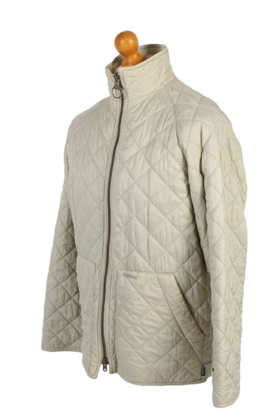 Vintage Barbour Quilted Jacket Coat 90s M White -C1251-100923