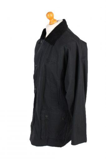 Waxed Jacket Vintage 90s Jacket Royal Paddock XL Black -C1267-101003