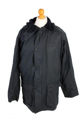 Waxed Jacket Vintage Retro 90s Philip Morris M Black