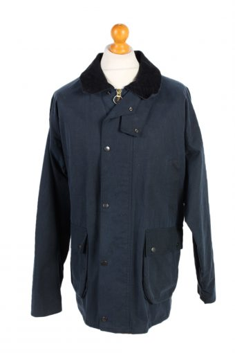 Vintage Waxed Jacket Cotton 90s Winter Royal Spencer XL Navy
