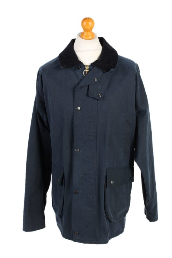 Vintage Waxed Jacket Cotton 90s Winter Royal Spencer XL Navy -C1275-0