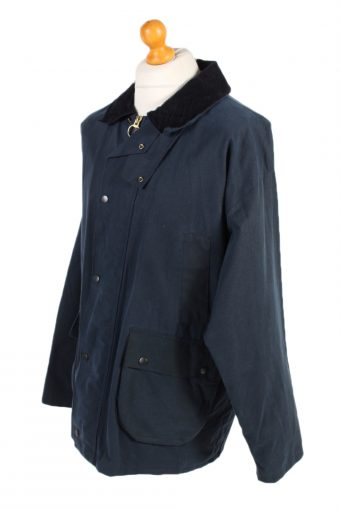 Vintage Waxed Jacket Cotton 90s Winter Royal Spencer XL Navy -C1275-101038