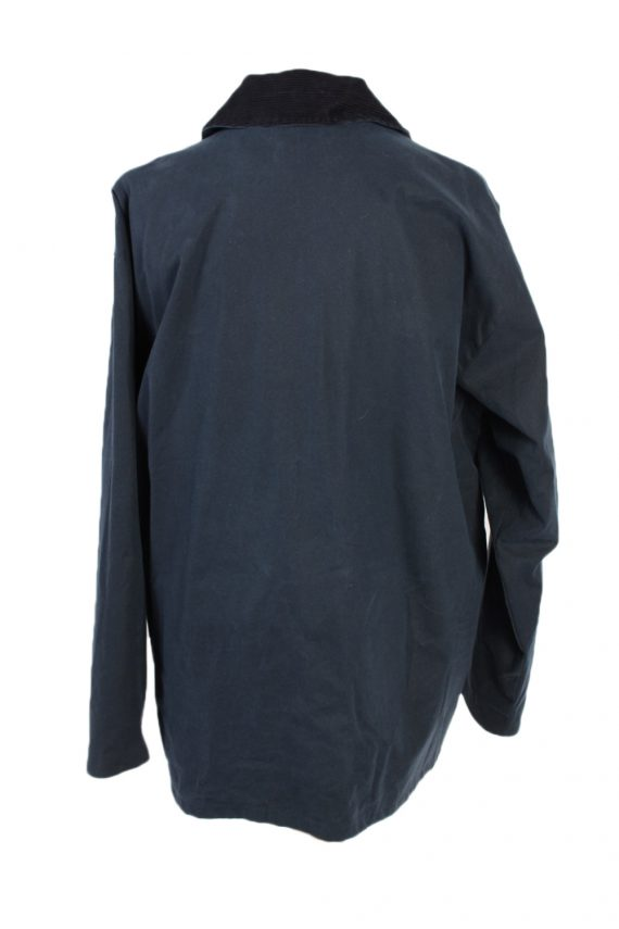 Vintage Waxed Jacket Cotton 90s Winter Royal Spencer XL Navy -C1275-101039