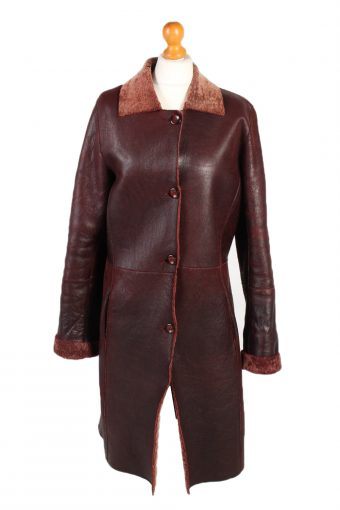 Vintage Leather Coat Smart Winter Warm Casual M Red