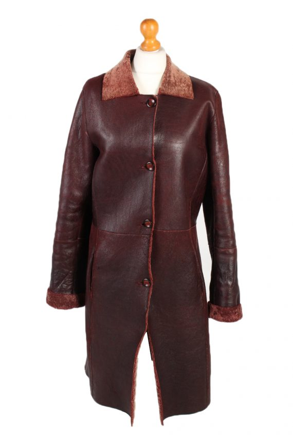 Vintage Leather Coat Smart Winter Warm Casual M Red -C1278-0