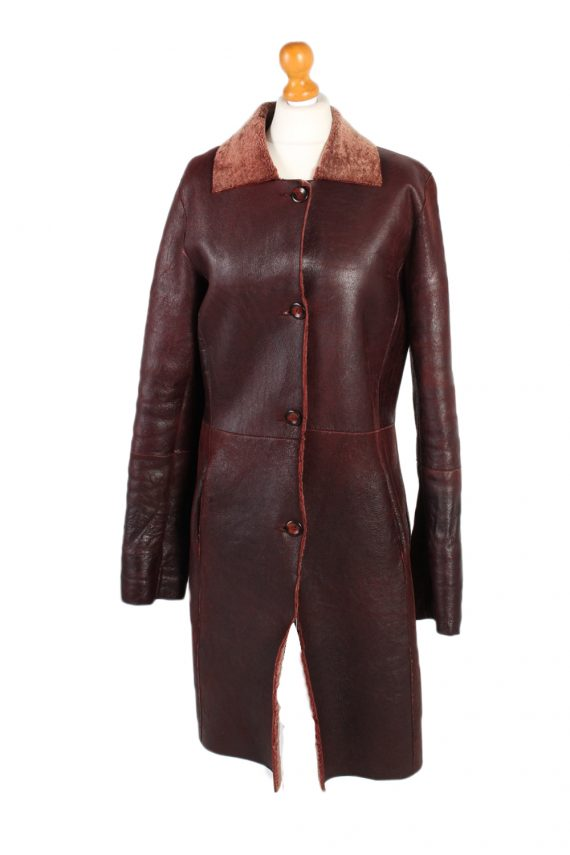 Vintage Leather Coat Smart Winter Warm Casual M Red -C1278-101053