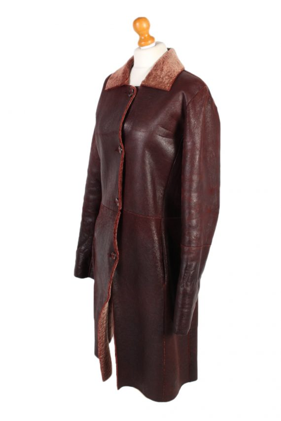 Vintage Leather Coat Smart Winter Warm Casual M Red -C1278-101054