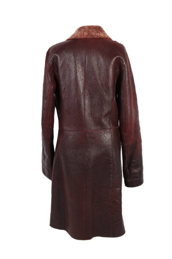 Vintage Leather Coat Smart Winter Warm Casual M Red -C1278-101055
