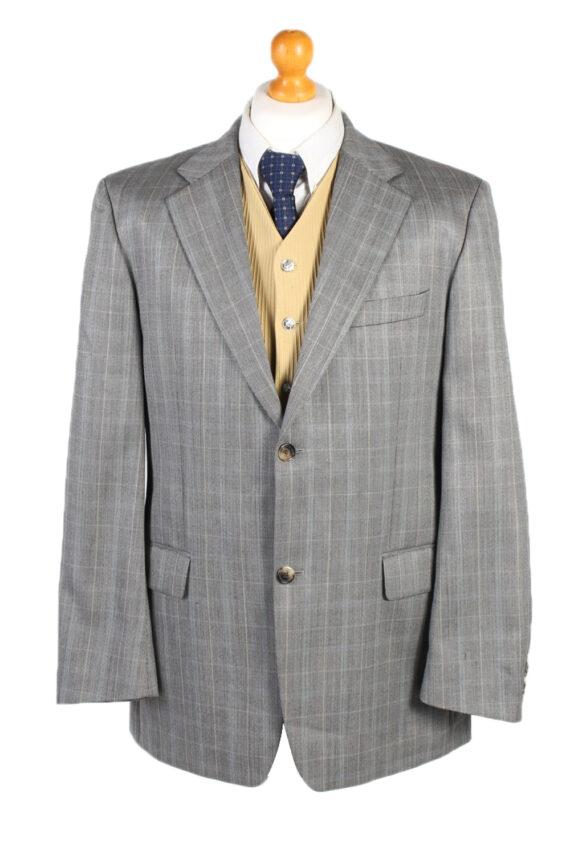 Vintage Hugo Boss Window Pane Blazer Jacket Chest 45 Grey HT2490-0